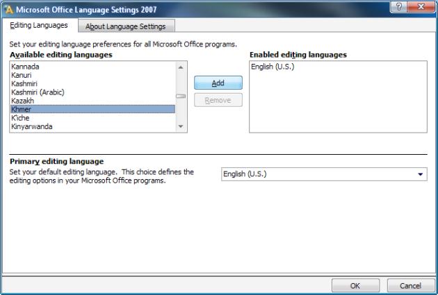 រូបទី៦ (Microsoft Language Settings)
