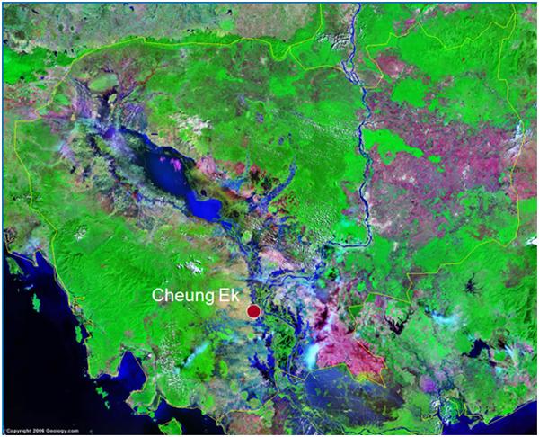 """ផែនទីនៃតំបន់ជើងឯក មើលពីលើអាកាស (ឯកសាររបស់ Phon Kaseka, Ceramics production at Cheung Ek Kiln Site, Cambodia, in 5th International Conference on """"Southeast Asian Cultural Values : Cultural Industry"""" December, 17th 2000)"""